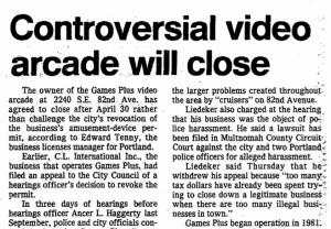 1984 arcade closure