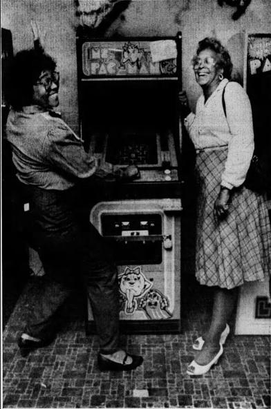 Barabara Nettles and Tina Miller Statellite arcade phili Eng Sept 12 1983